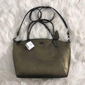 NWT Coach metallic bronze leather midsize handbag